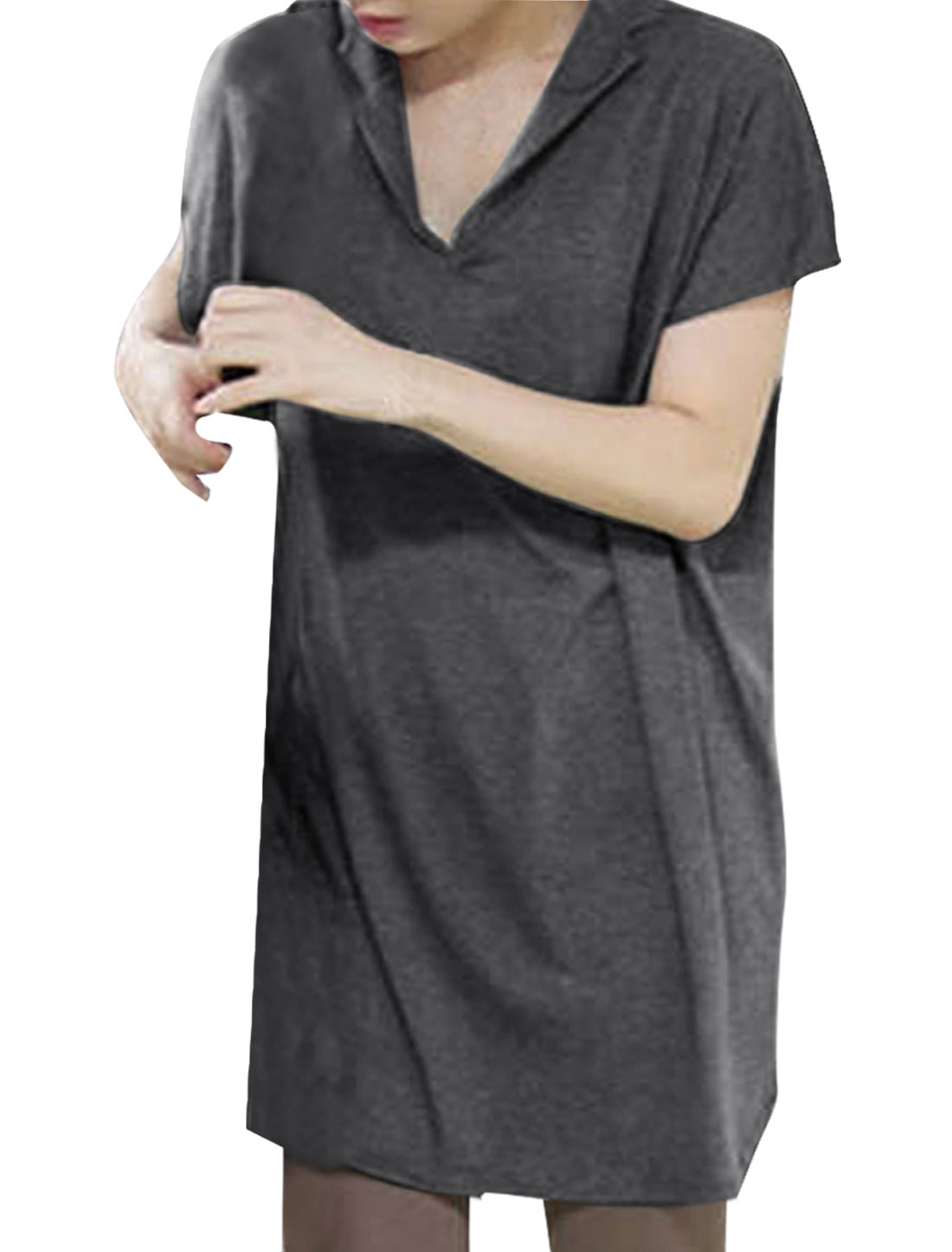 Ladies Pure Gray Color Short Dolman Sleeve Loose Tunic Top Shirt M