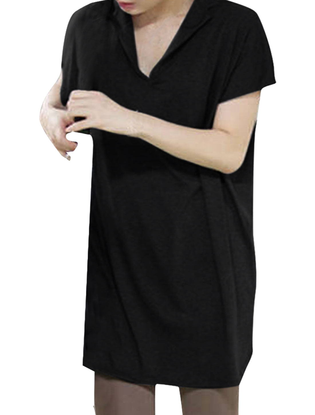 Woman Split Neck Short Dolman Sleeve Design Pure Black Loose Top Shirt M