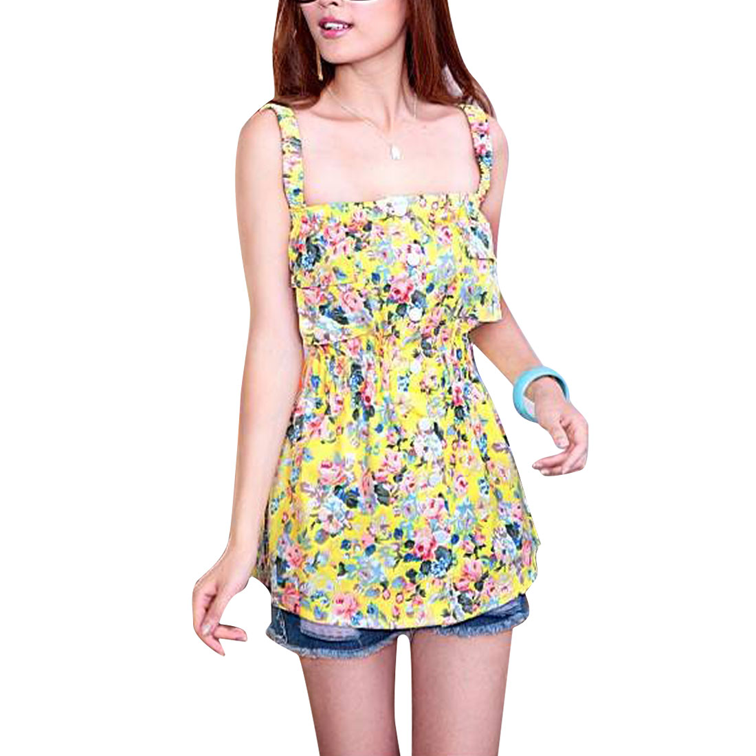 Women Elastic Straps Button Up Summer Tank Top Yellow Pink XS