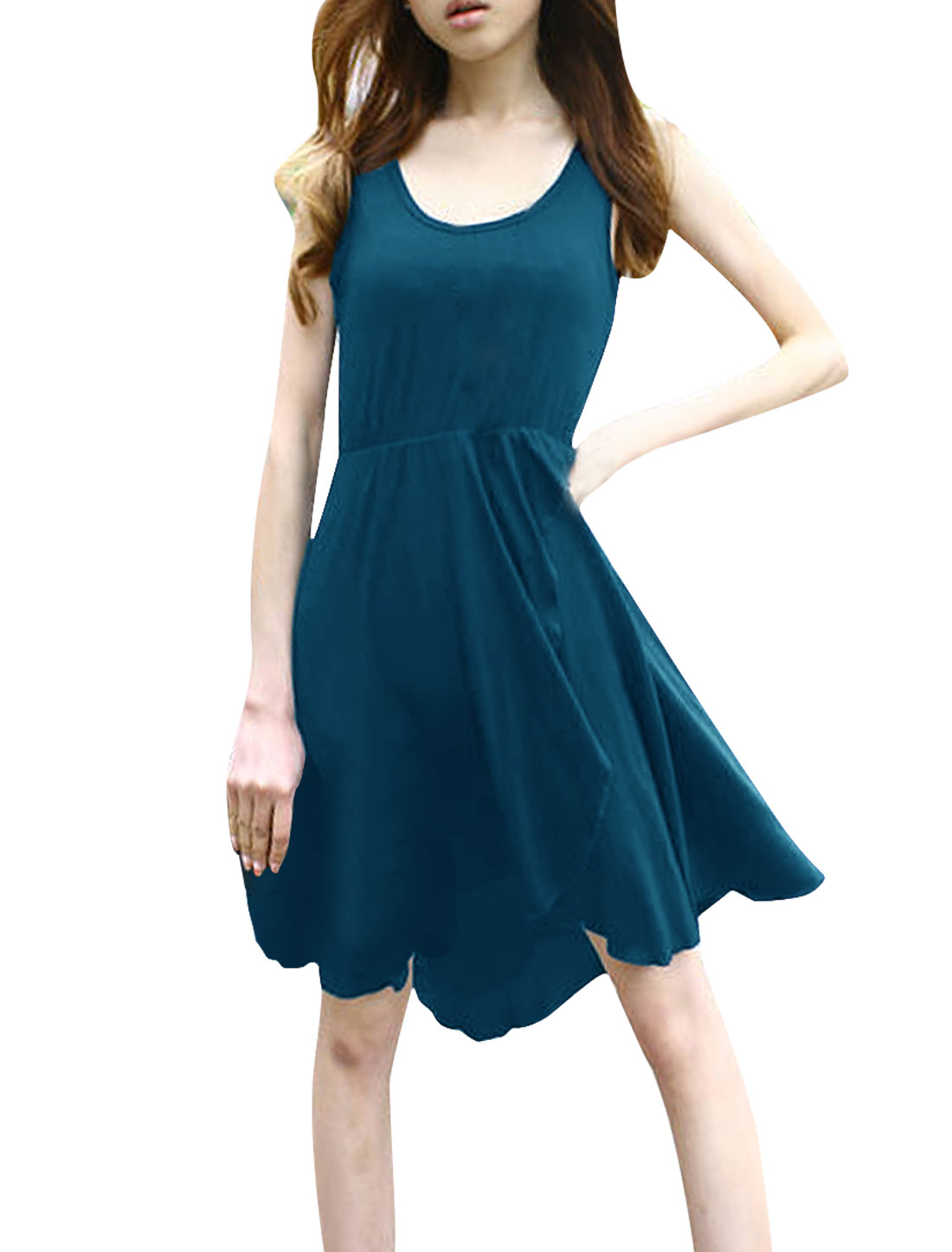 Woman Scoop Neck Elastic Waist Split Front Low-High Hem Dark Teal Dress S