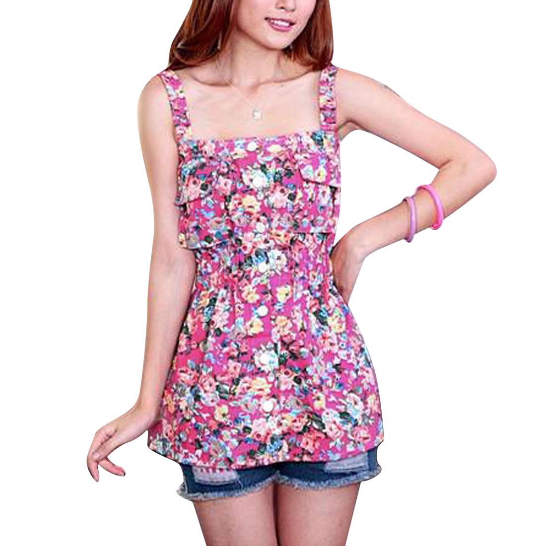 Women Elastic Waist Floral Prints Tank Top Fuchsia Pink XS