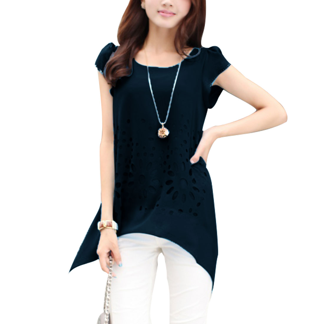 Women Round Neck Cut Out Design Cap Sleeve Round Hem Tunic Shirt Navy Blue XS