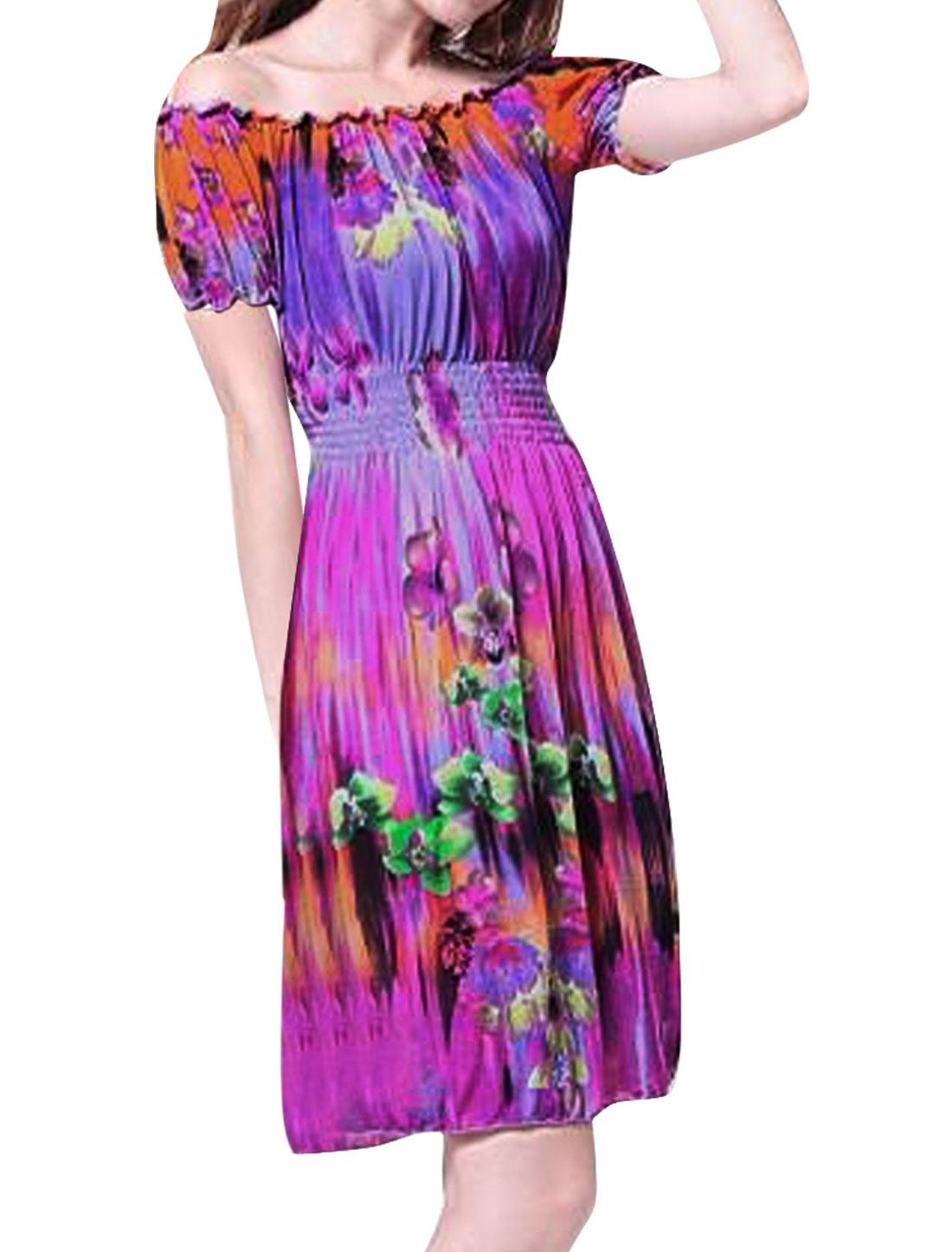 Women Short Sleeve Stretchy Waist Summer Dress Fuchsia Purple XS