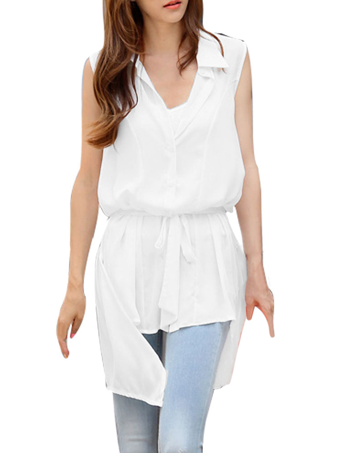 Women Point Collar Drawstring Waist Sleeveless Design Tunic Shirt M White
