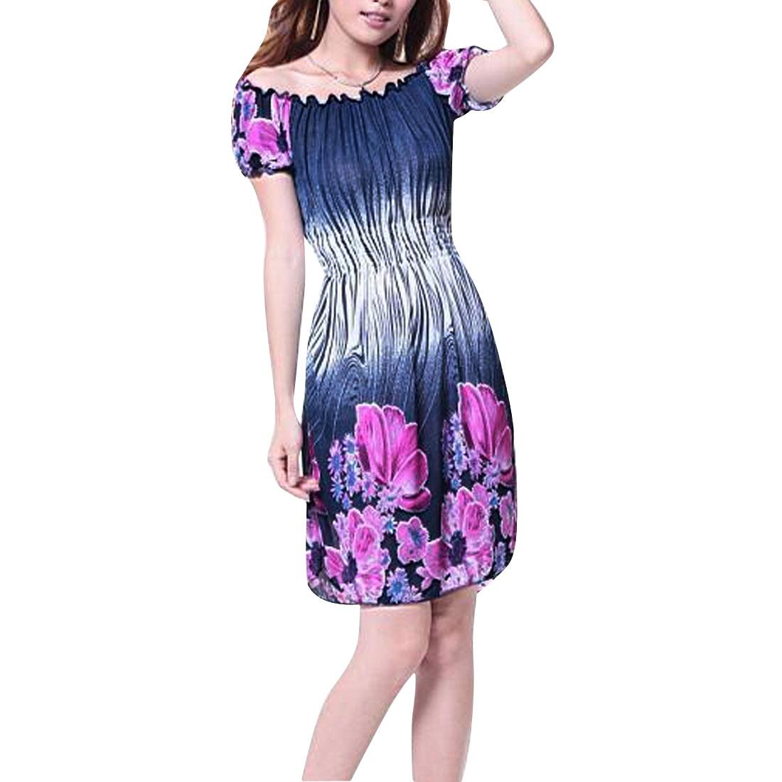 Women Pullover Short Sleeve Floral Prints Dress Dark Blue Purple XS