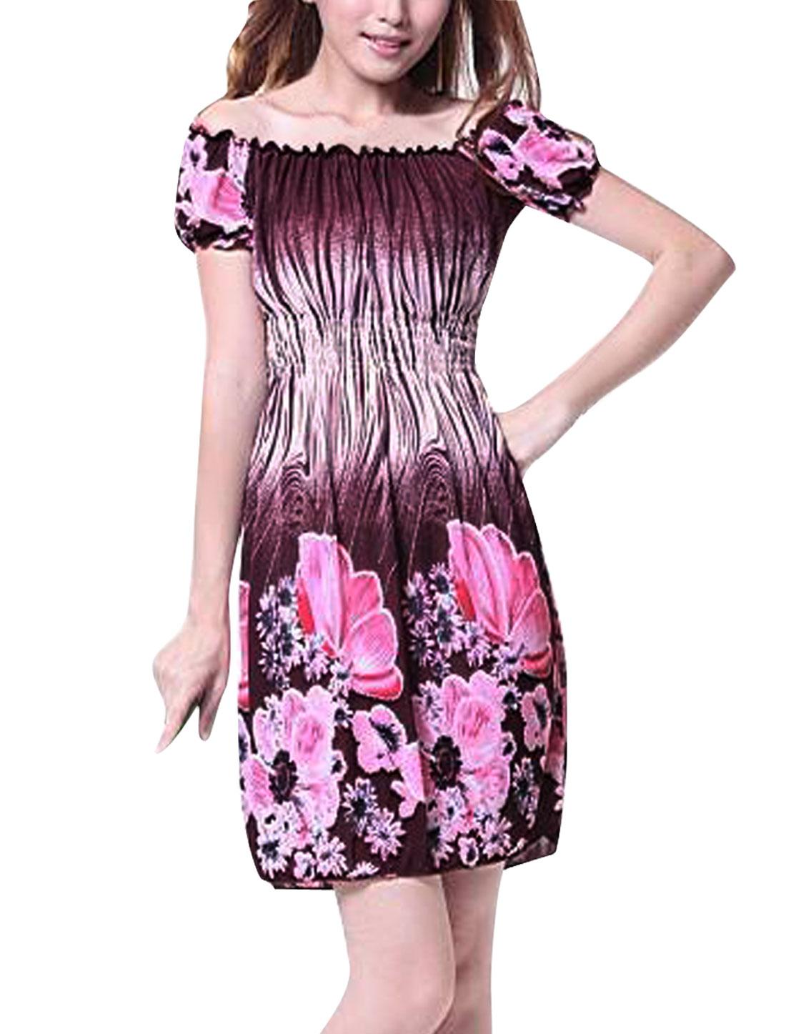Women Off Shoulder Pullover Summer Dress Dark Brown Pink XS