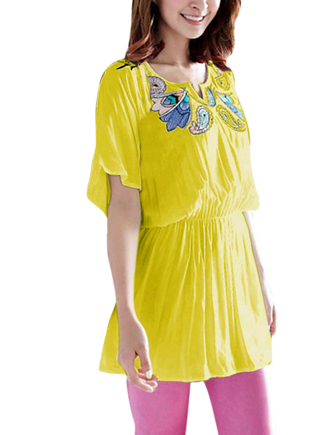 Women Batwing Sleeve Embroidery Detail Top Shirt Yellow S