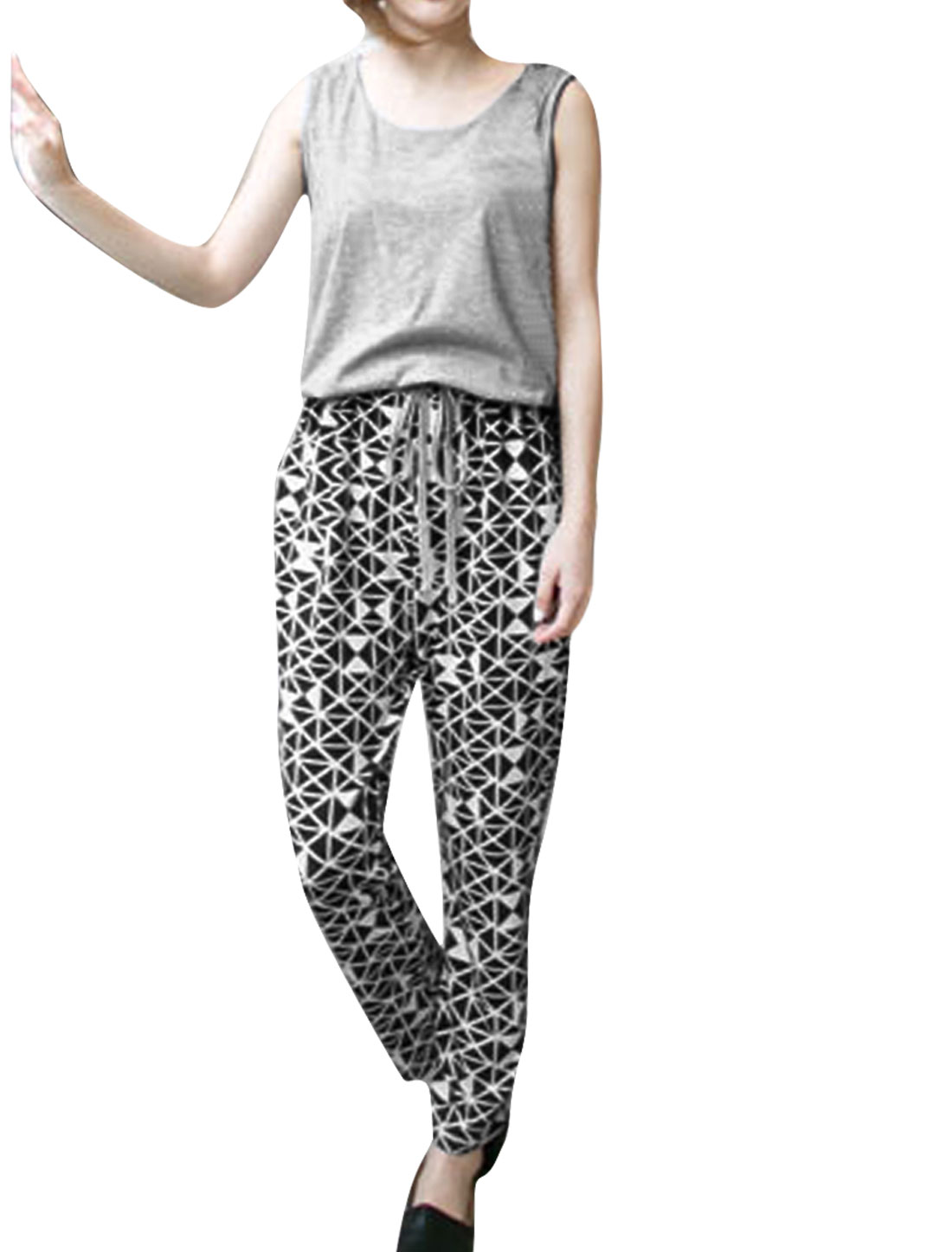 Women Round Neck Slant Pockets Sleeveless Design Jumpsuit Grey Black M