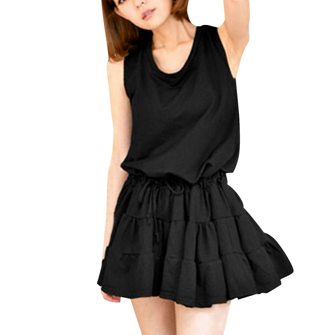 Women Round Neck Drawstring Waist Casual Dress Black XS