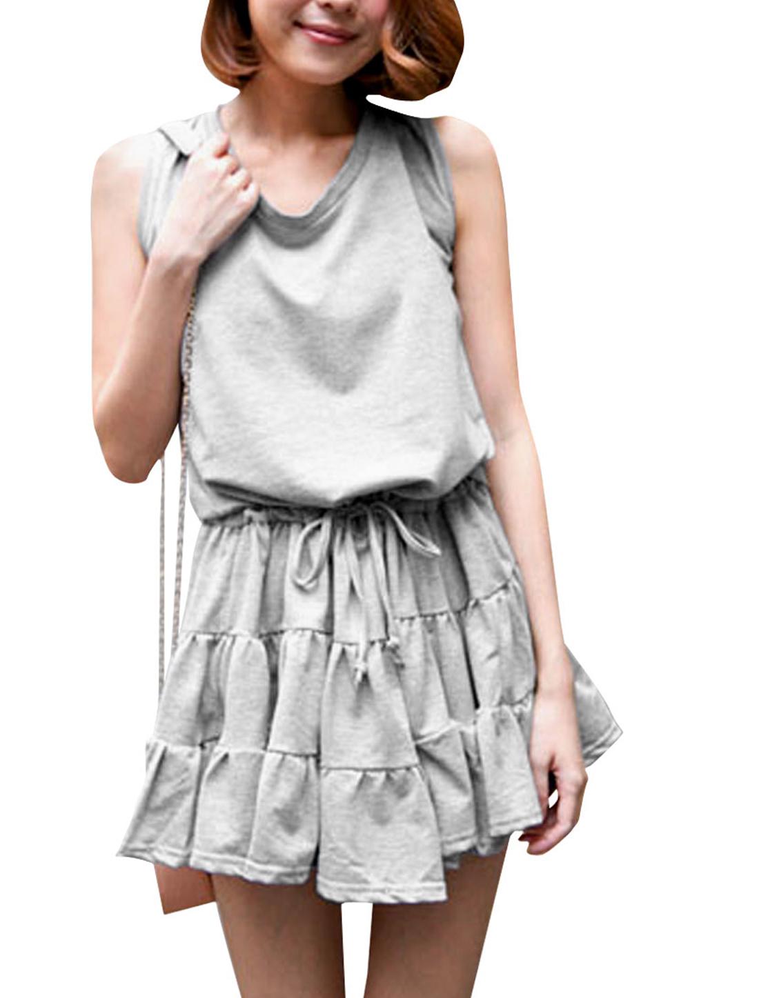 Women Sleeveless Pullover Stretchy Dress Light Gray XS