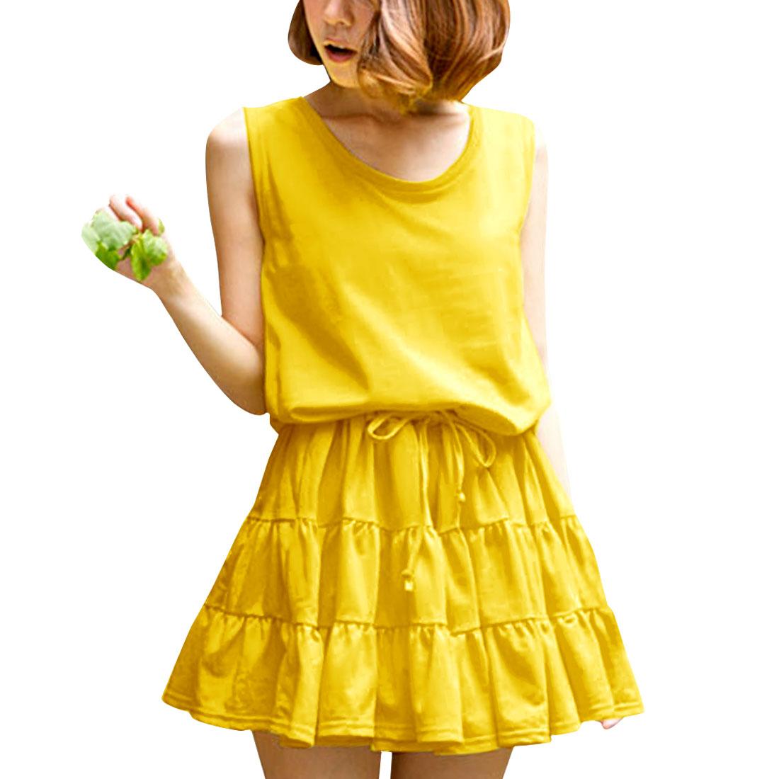 Women Round Neck Sleeveless Drawstring Waist Dress Yellow XS