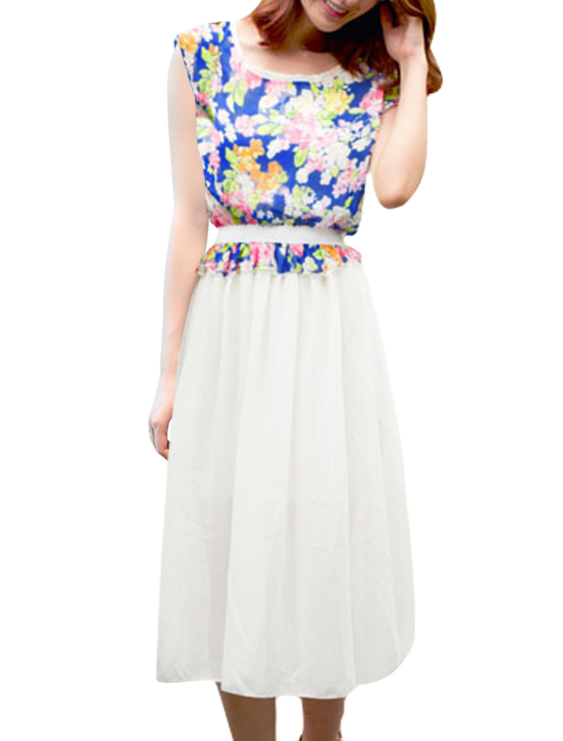 Ladies Blue M Round Neck Floral Printed Summer Chiffon Dress