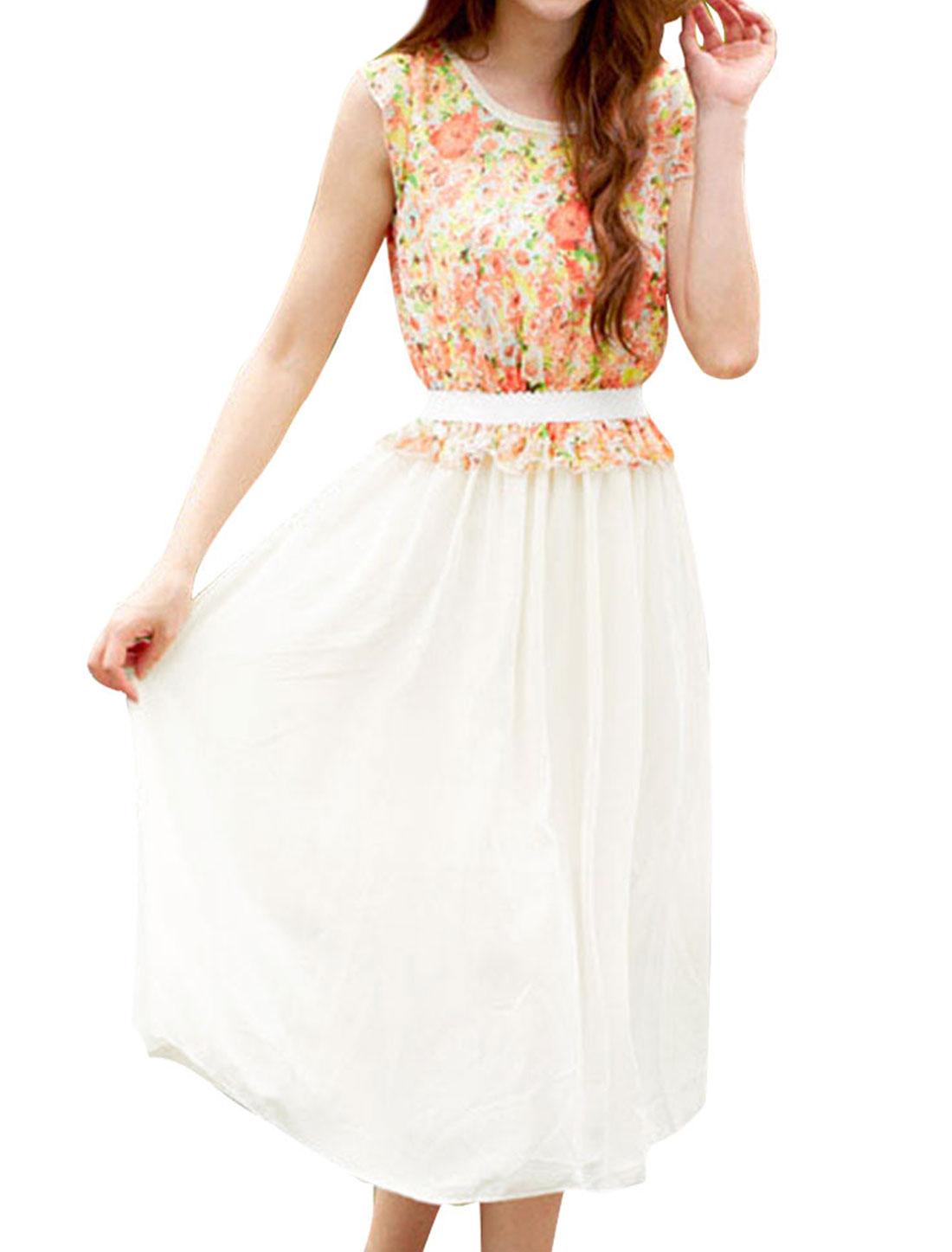 Lady Round Neck Scalloped Summer Elastic-waist Jacinth M Chiffon Dress