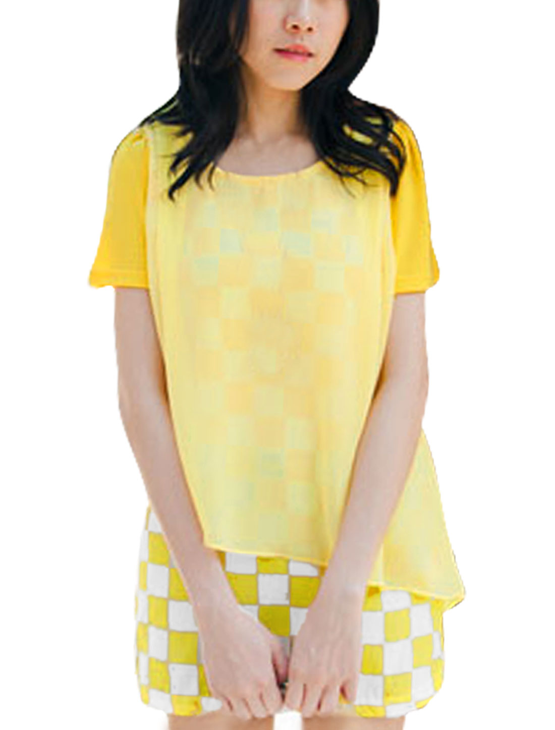 Women Short Sleeve Round Neck Design Plaids Pattern Tunic Shirt Yellow XS