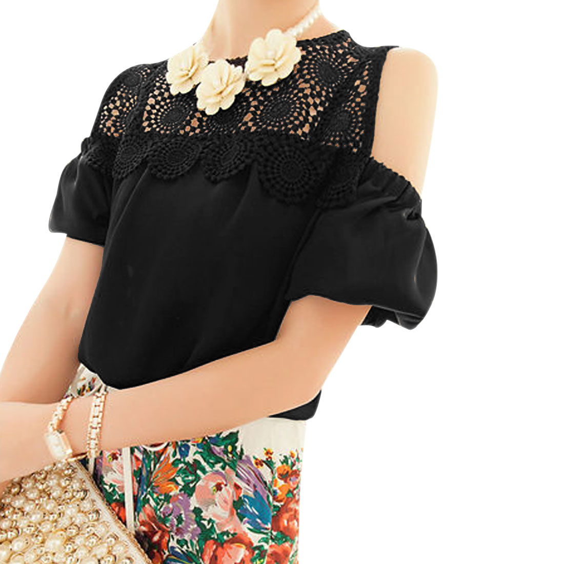 Woman Chic Crochet Flower Design Cutout Shoulder Pure Black Blouse S