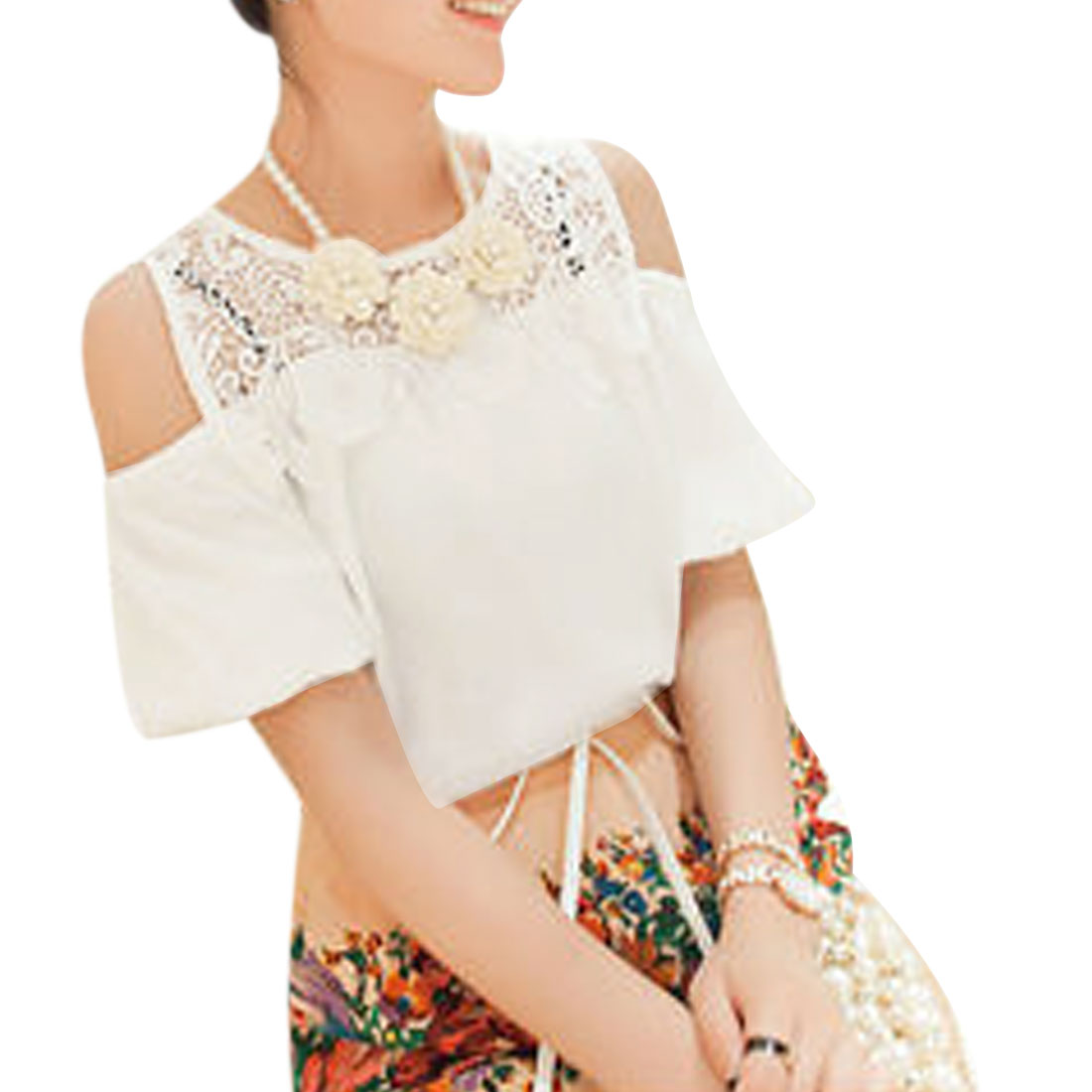 Ladies Short Puff-Sleeved Crochet Hollow Upper Cutout Shoulder White Blouse S