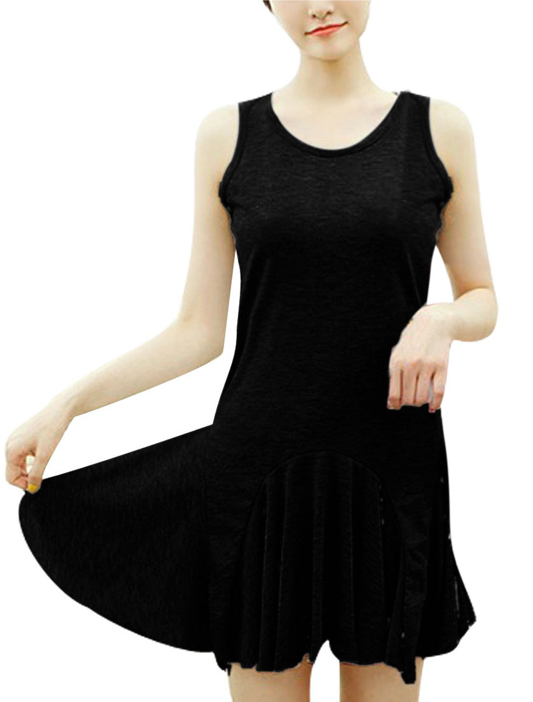 Ladies Round Neck Solid Color Stretchy Black Fit-and-Flare Mini Dress XS