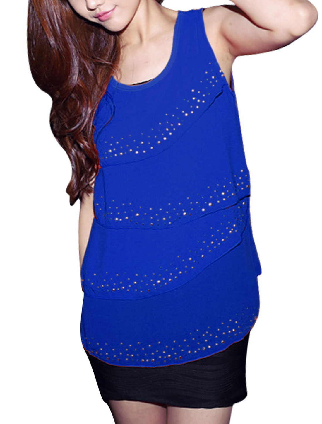 Woman Chic Royalblue Tiered Front Design Semi-Sheer Chiffon Blouse XS