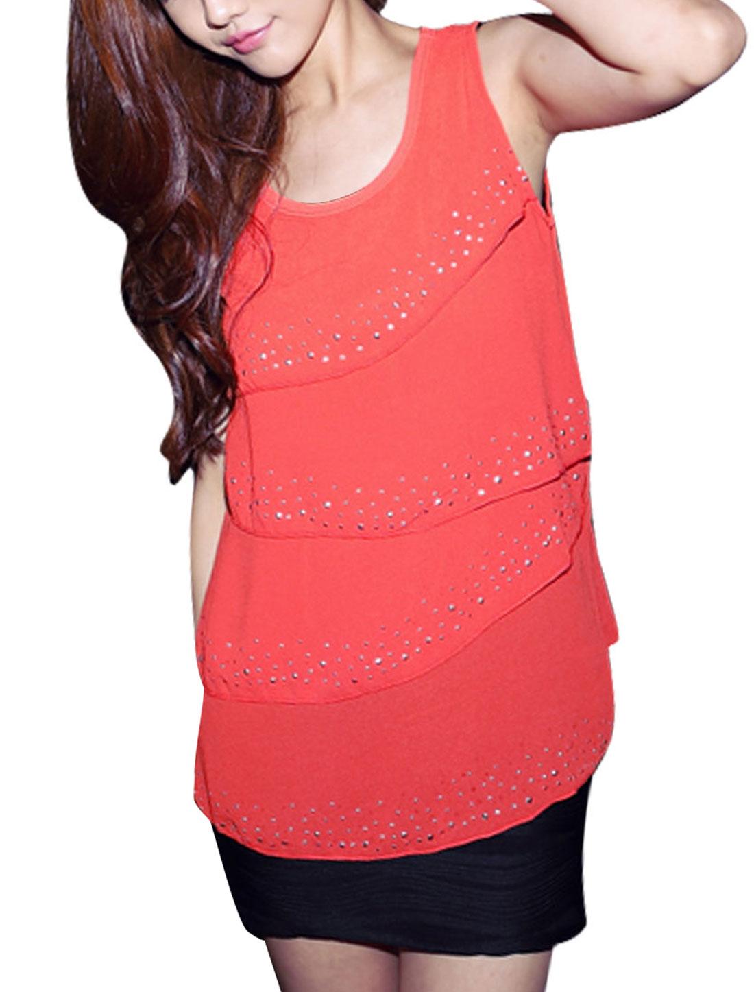 Women NEW Round Neck Tiered Front Design Orange Summer Tank Tops XS