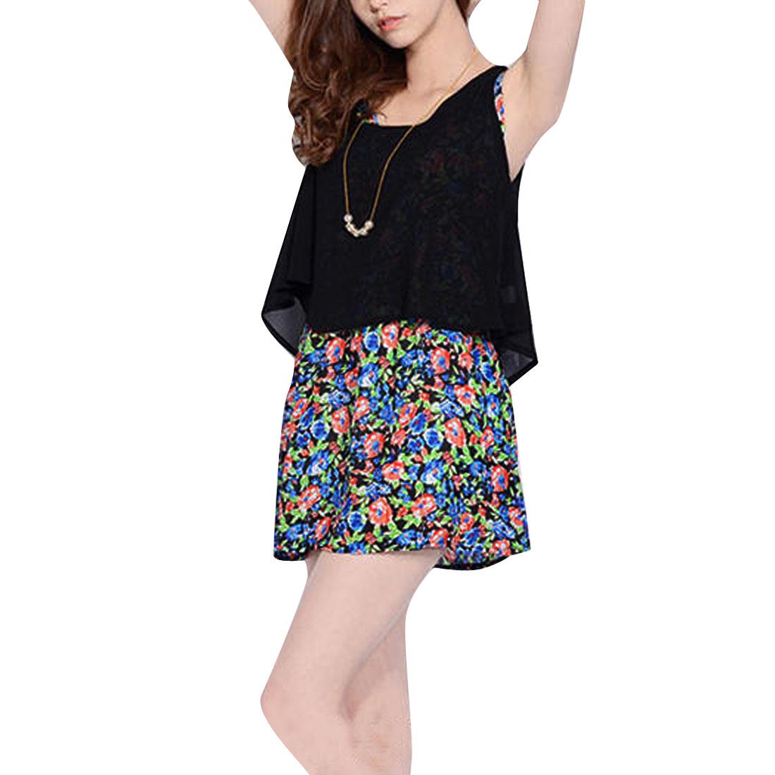Ladies Floral Prints Elastic Waist Min Dress w Chiffon Tank Top Black XS