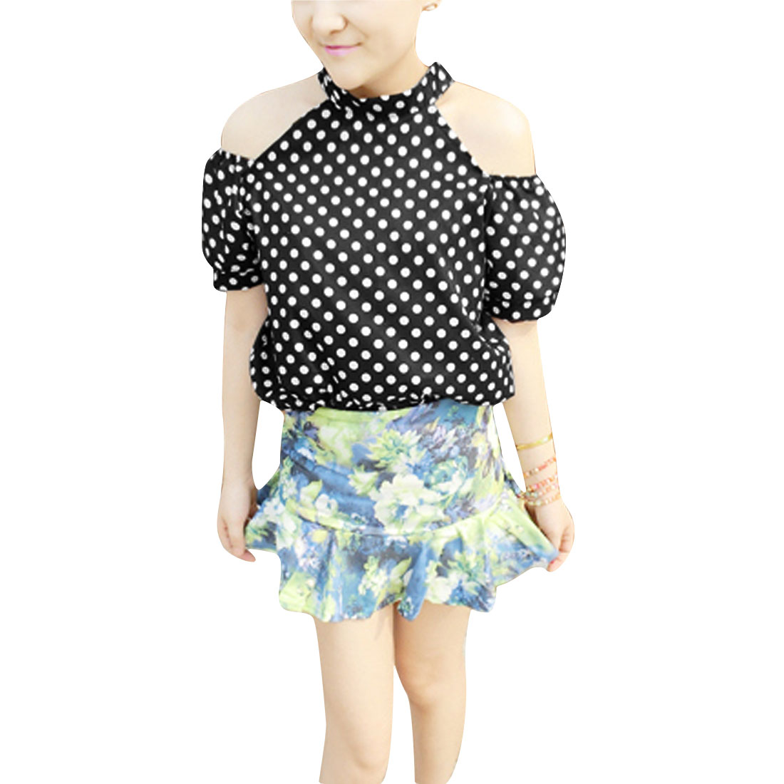 Woman Chic Cutout Shoulder Short Puff Sleeve Design Black Casual Blouse S