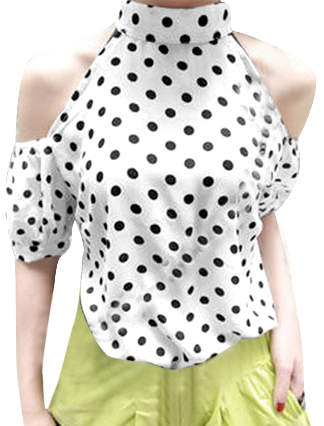 Ladies Stand Collr Cutout Shoulder Design White Dots Pattern Casual Blouse S
