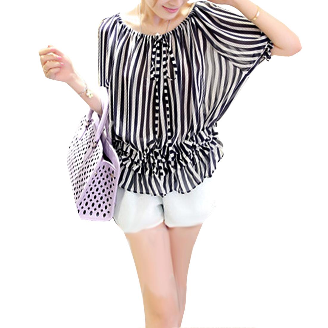 Ladies Dark Blue White Stripes Pattern Loose Semi-Sheer Chiffon Blouse S