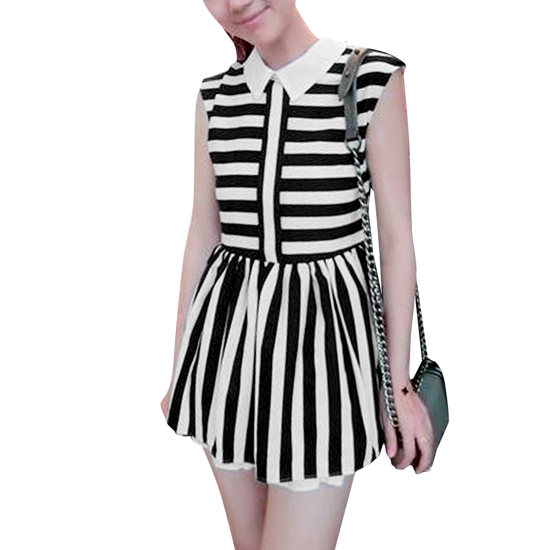 Ladies Point Collar Sleeveless Black White Stripes Top XS