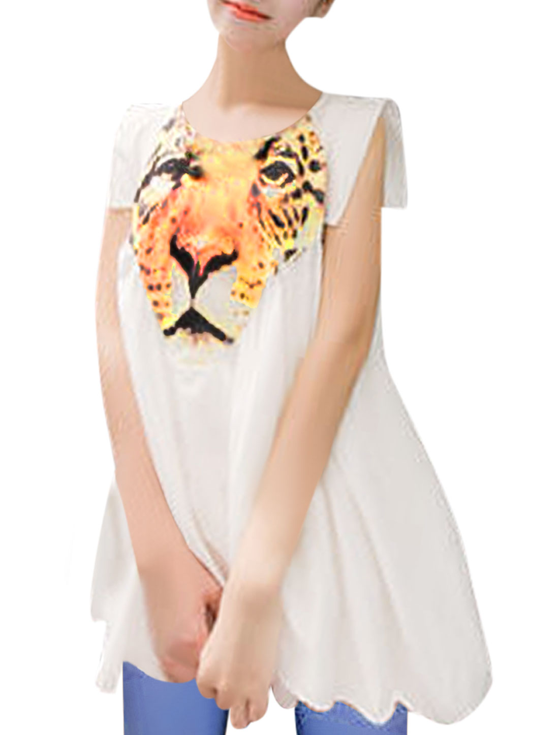 Ladies Tiger Pattern Sleeveless Summer Fashion White Babydoll Top M