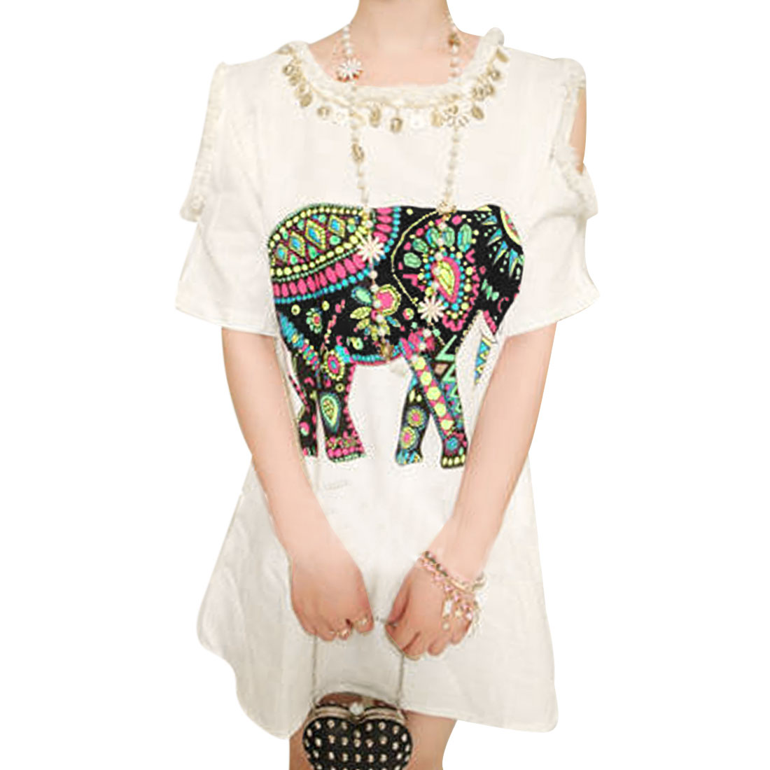 Ladies Round Neck Cutout Shoulder Cartoon Elephant Prints White Mini Dress S