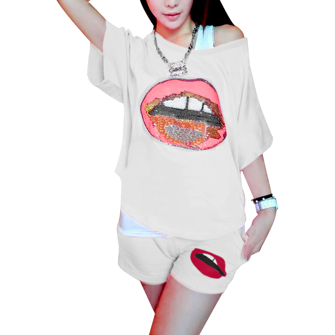 Ladies Round Neck Short Dolman Sleeve White Top w Shorts Two-Pieces Suit XS