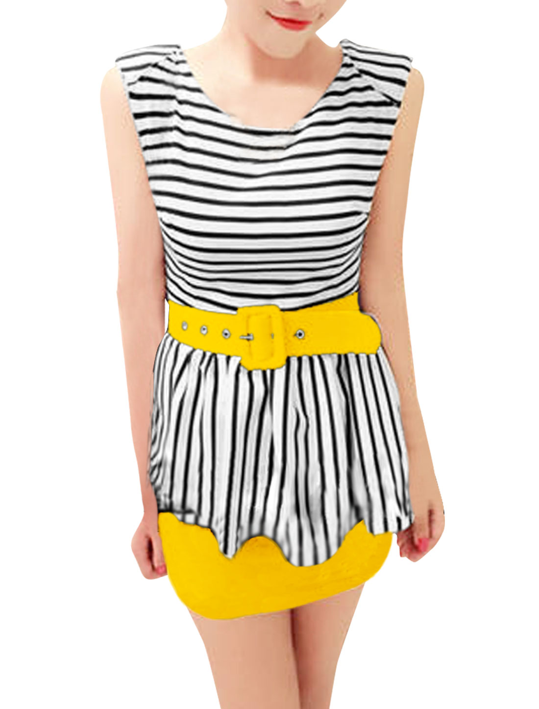 Ladies Round Neck Padded Shoulder Stripes Pattern Yellow Peplum Mini Dress XS
