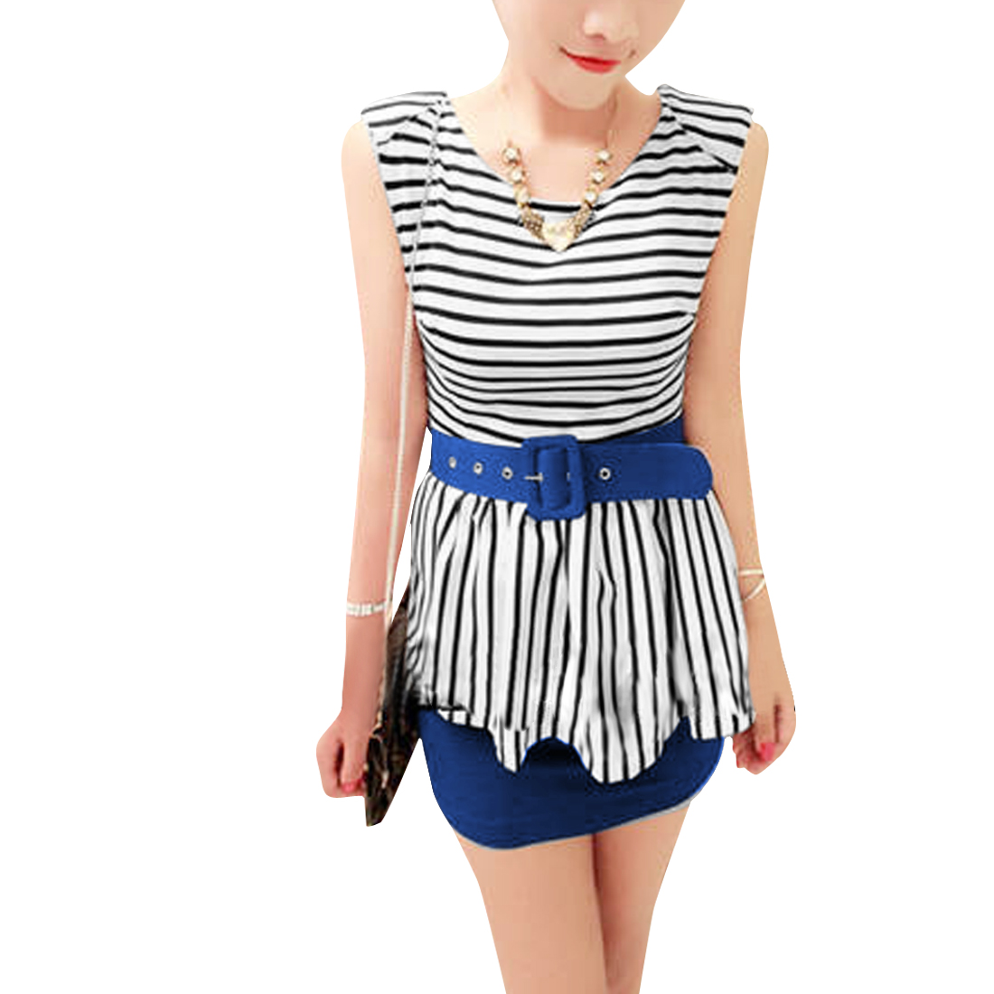 Woman Chic Stripes Pattern Design Royalblue Peplum Mini Dress w a Belt XS