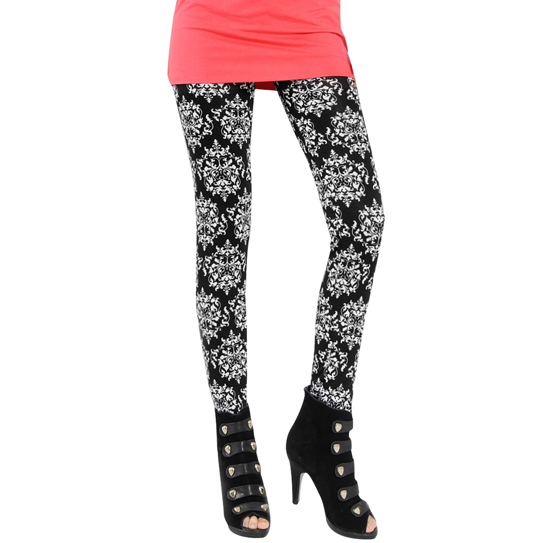 Ladies Stretchy Waist Floral Pattern Color Block Stylish Legging XS Black