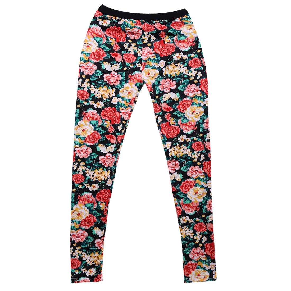 Women Black XS Elastic Waist Style Multicolor Floral Pattern Casual Legging