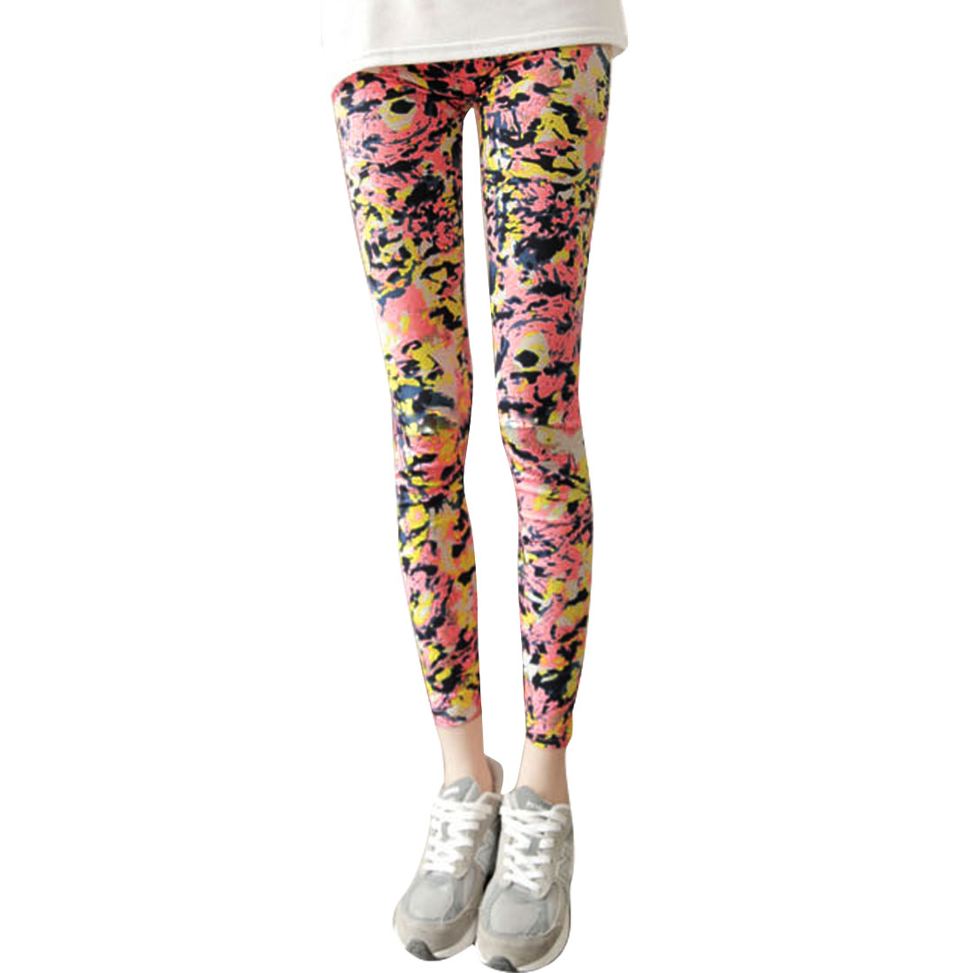 Women XS Pink Graffiti Pattern Elastic Waist Slim Fit Design Casual Leggings