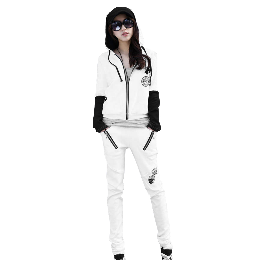 Ladies Zip-Up Front Embroidered Badge Decor Coat w Long Pants Suits White S