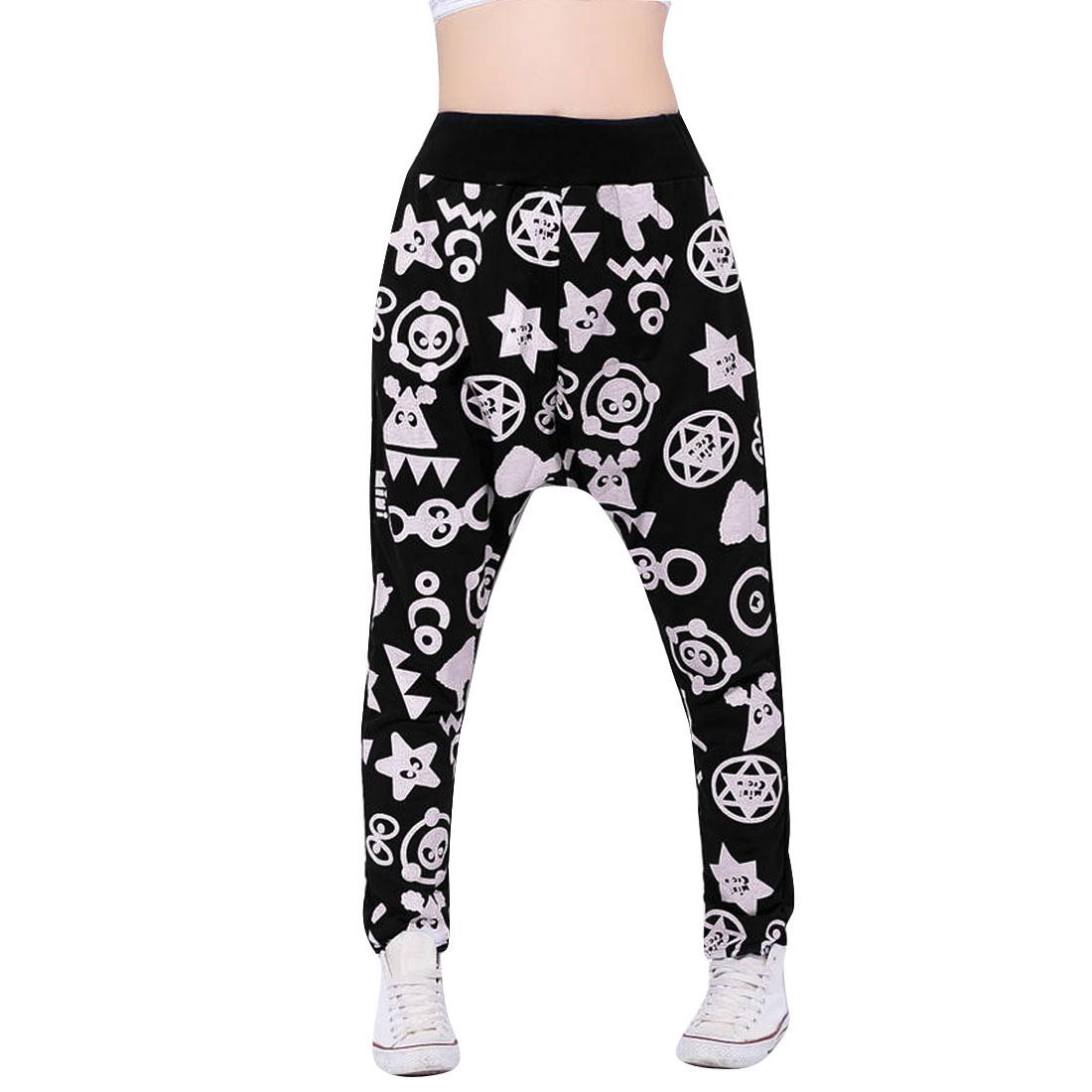 Women Black S Elastic Waist Style Cartoon Pattern Fashion Capris Harem Pants