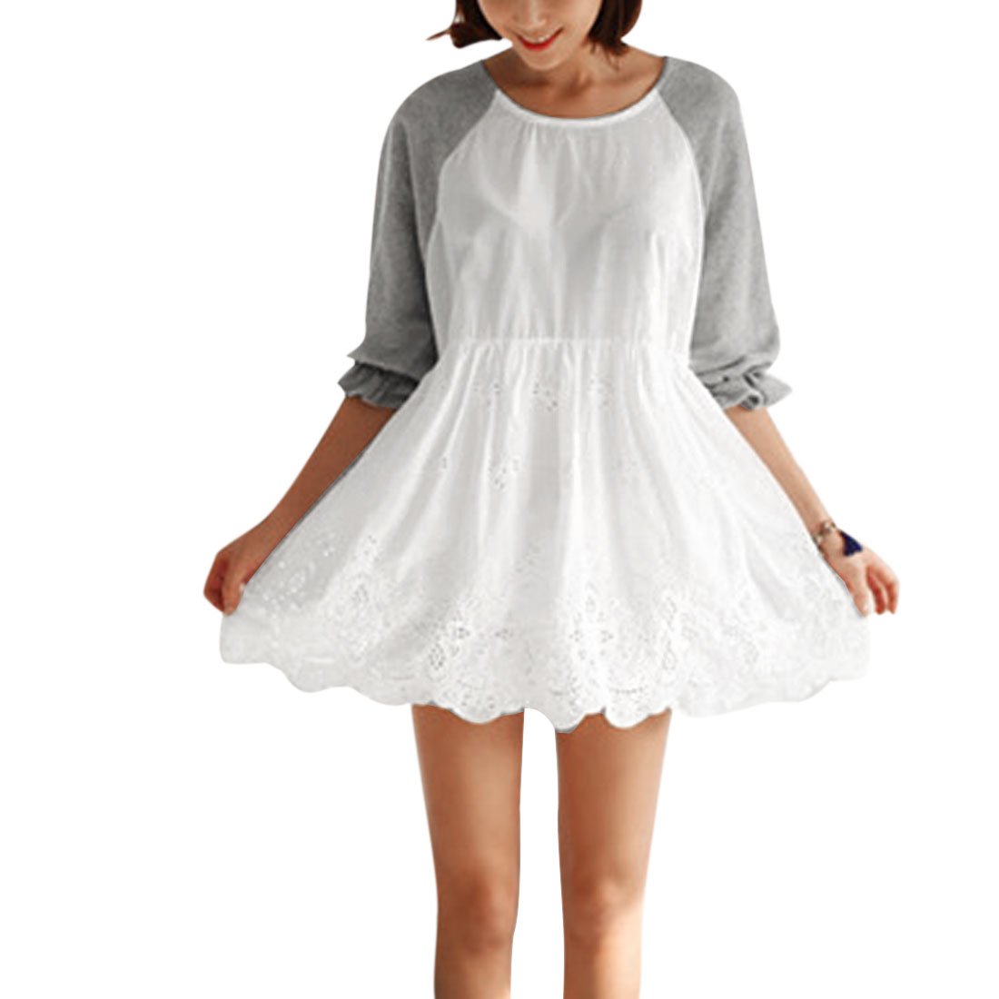 Ladies Raglan Sleeve Elastic Waist Crochet Flower Design White Mini Dress XS