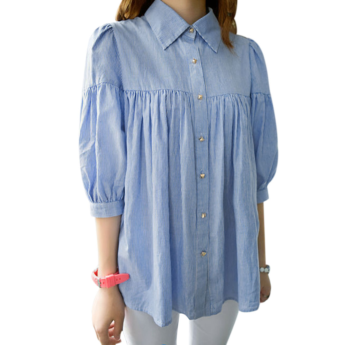 Ladies Point Collar Vertical Stripes Bubble Sleeve Blue Loose Blouse M