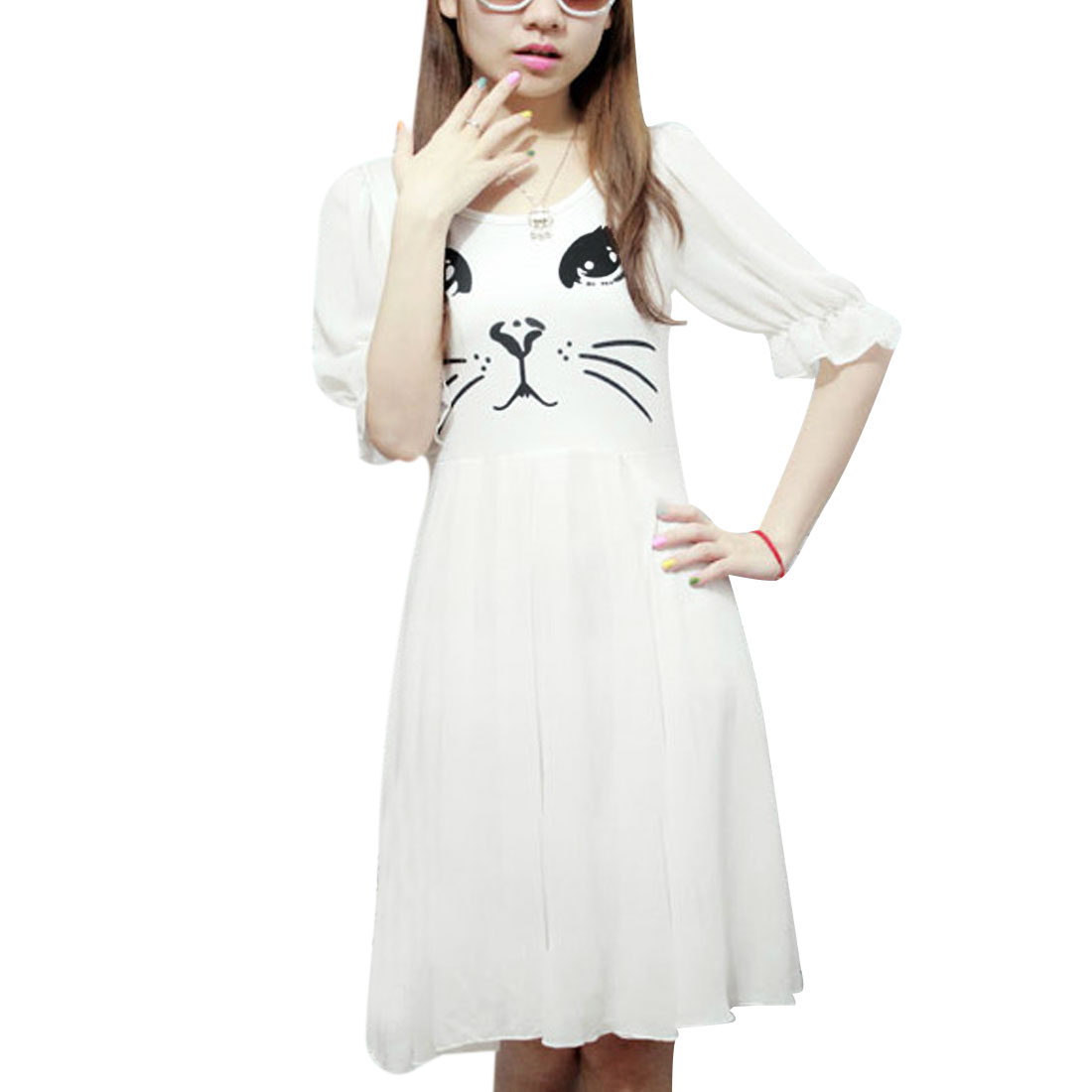 Ladies Round Neck Half Puff Sleeve White Cat Printing Dress XS