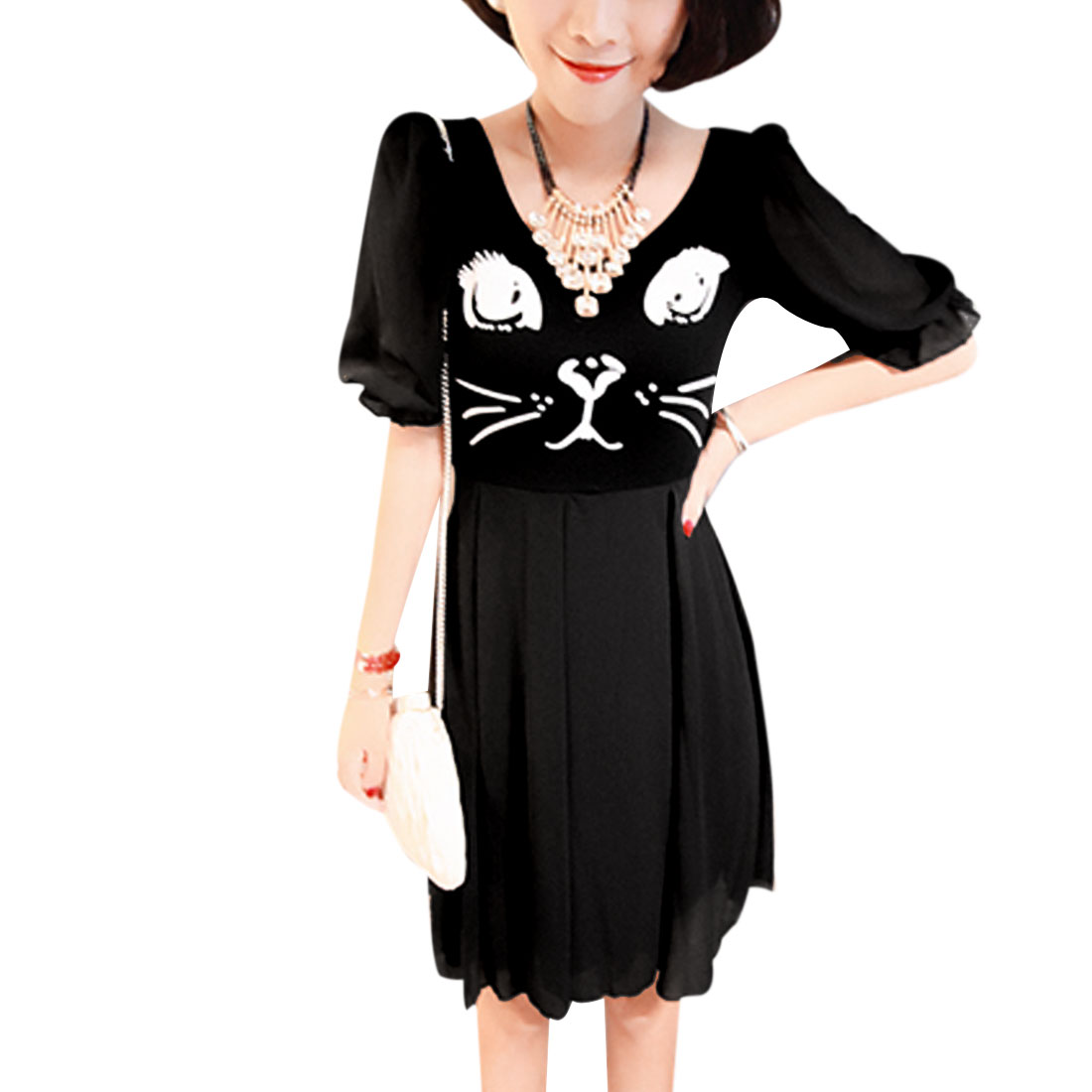 Ladies Round Neck Half Puff Sleeve Cat Prints Comfortable Black Dress XS