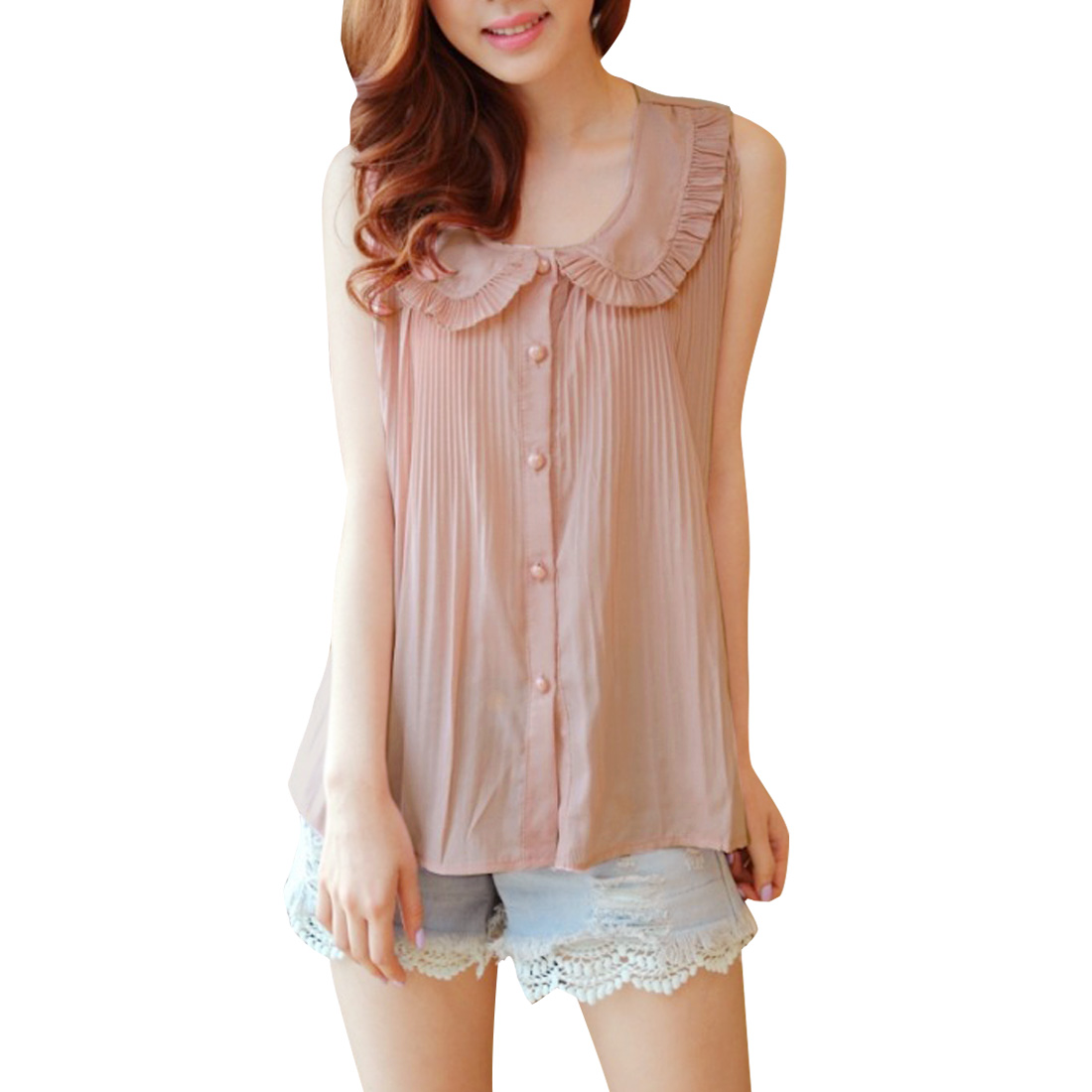 Women Doll Collar Button Up Pleated Top Shirt Pink S