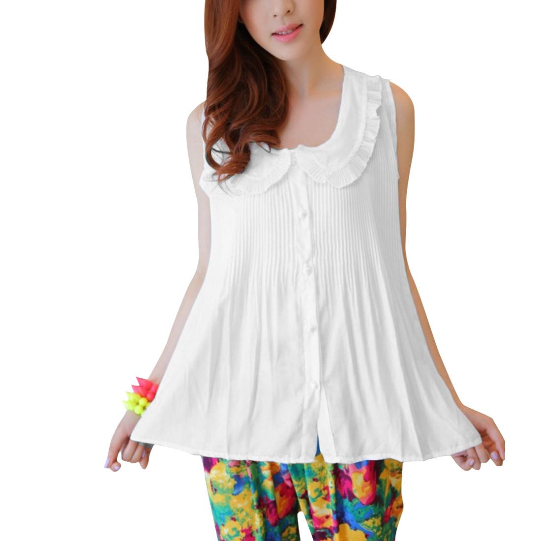 Women Single Breasted Sleveless Semi Sheer Top Shirt White S