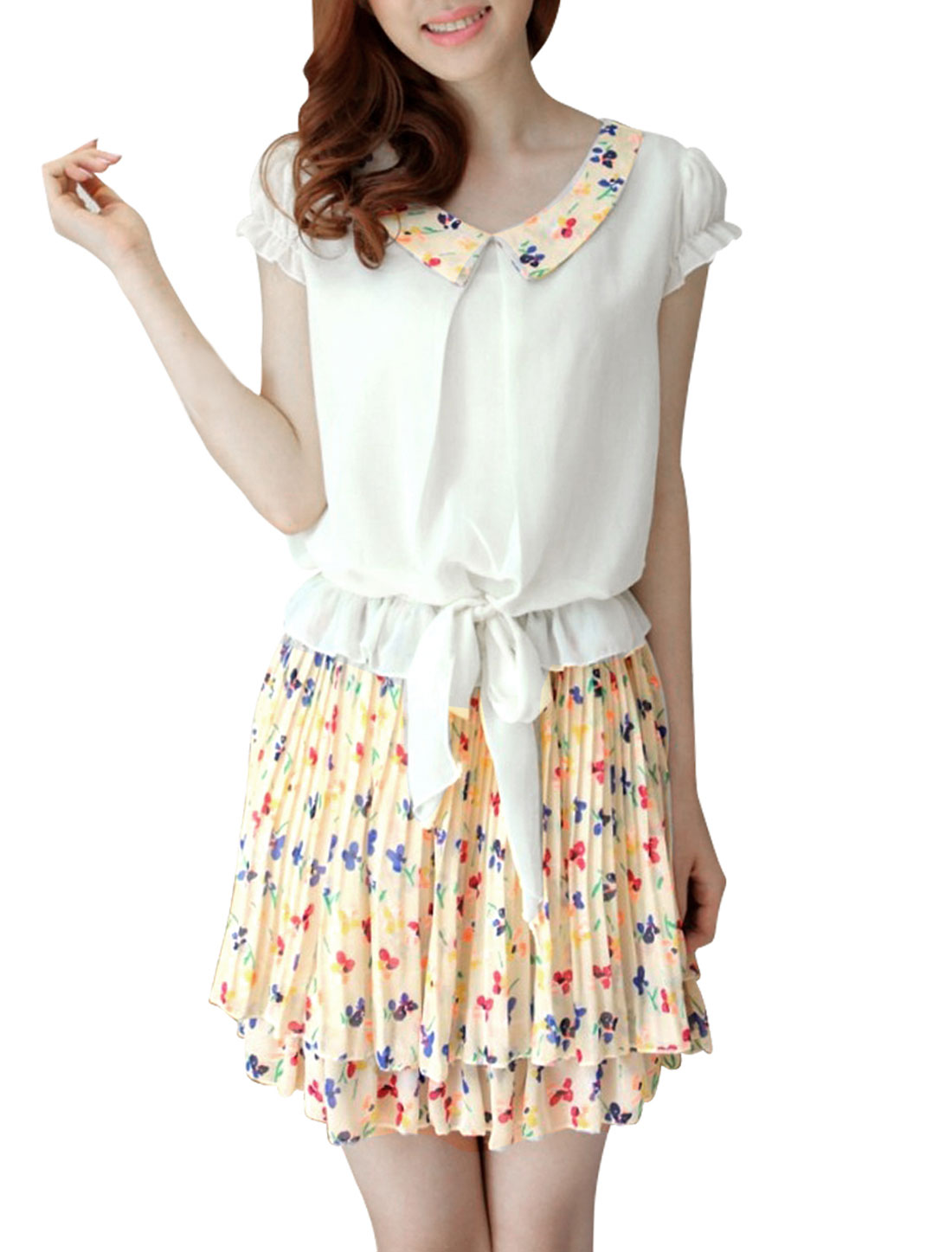 Woman NEW Peter Pan Collar Floral Prints Pleated White Mini Dress S