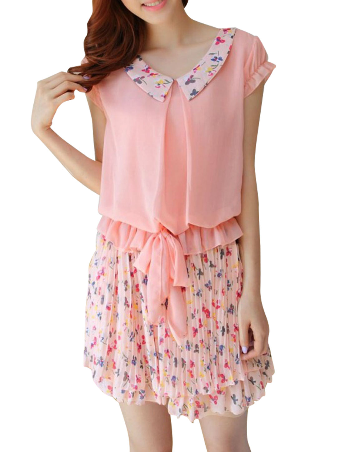 Ladies Doll Collar Cap Sleeves Floral Pleated Mini Dress Pink S