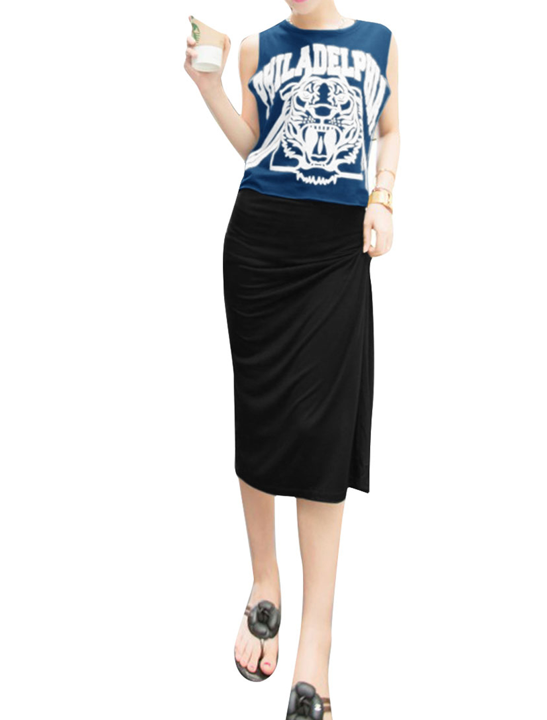 Women Letters Pattern Top w Round Neck Sleeveless Dress Navy Blue Black XS