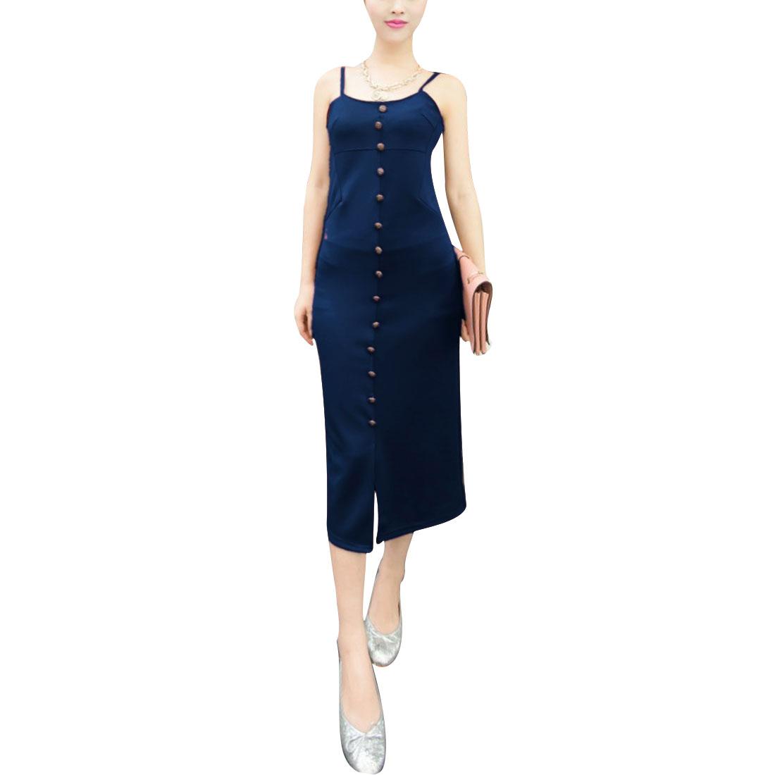 Women Spaghetti Straps Design Slim Fit Off Shoulder Summer Dress Navy Blue XS