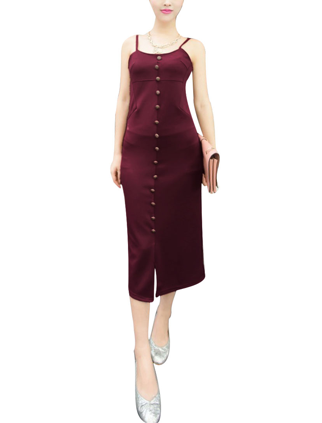 Ladies Off Shoulder Style Pullover Slim Fit Summer Casual Dress XS Burgundy