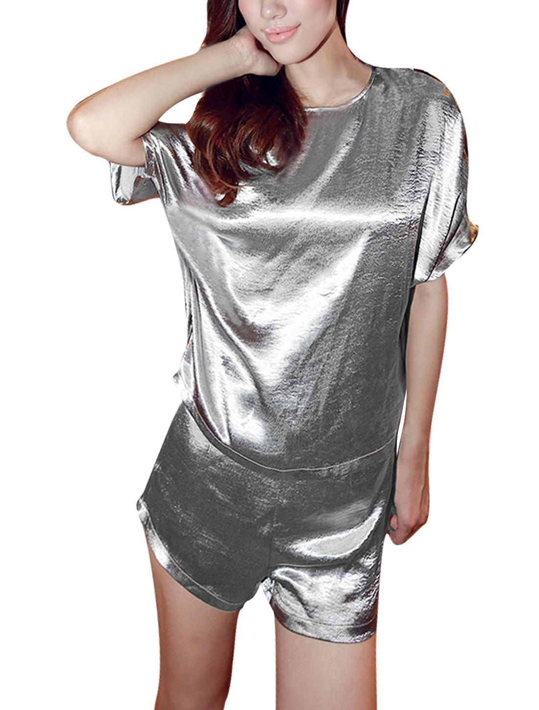 Women Hidden Zipper Back Top w Slim Fit Concealed Zipper Shorts Silver XS